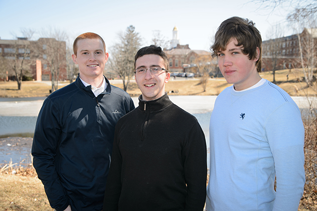 Goldwater scholars Pat Lenehan '15 (CLAS), left, Peter Larson '15 (CANR) and Michael Cantara '16 (ENG) on March 24, 2014. (Peter Morenus/UConn Photo)