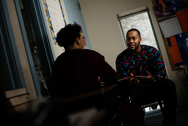 Danny Lansanah, '08 (CLAS), former UConn linebacker, at Alternative Rehab Communities in Harrisburg, PA, where he works as a counselor with at-risk youth. (Sten Hartman)