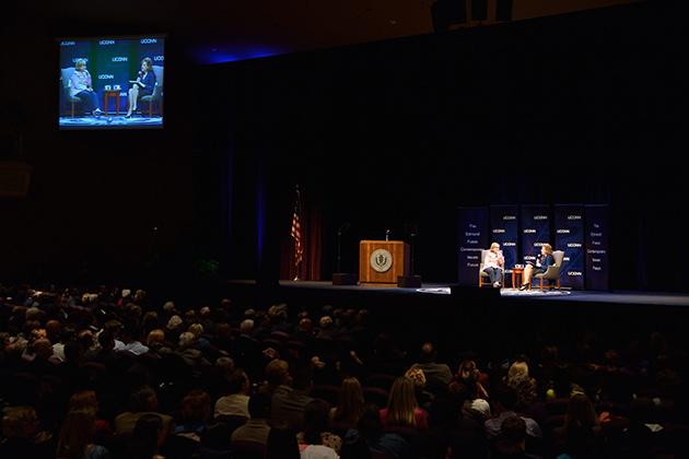 Hillary Clinton answers questions read by President Susan Herbst during The Edward Fusco Contemporary Issues Forum held at the Jorgensen Center for the Performing Arts on April 23, 2014. (Peter Morenus/UConn Photo)