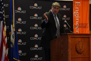 John Schanz, Comcast EVP and Chief Network Officer speaking in Rome Ballroom announcing the establishment of the Center of Excellence for Security Innovation (CSI) at UConn.