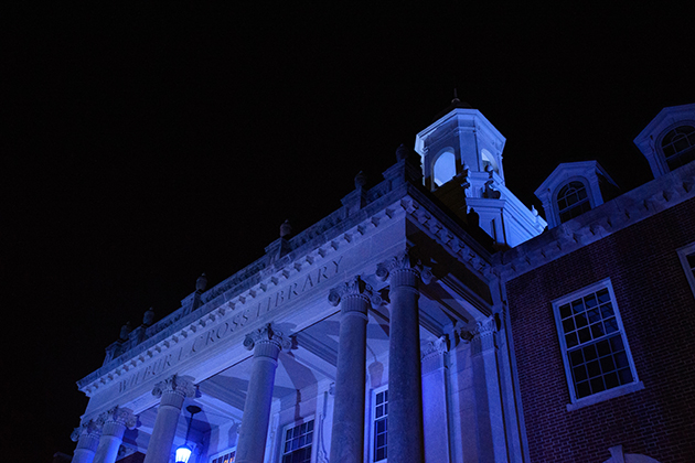 Blue lights on Wilbur Cross Building signal autism awareness on April 2, World Autism Awareness Day. (Peter Morenus/UConn Photo)