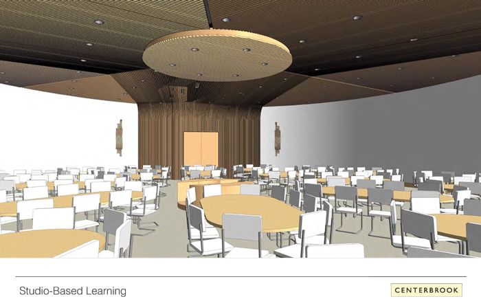 The centerpiece of the Academic Building renovation is a studio-based learning center in the round, with seating for up to 400 in more traditional theater style.