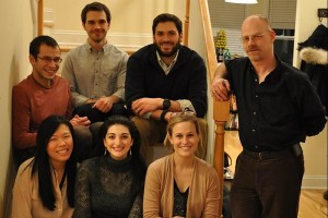 Back, from left: Vladimir Nazarov, Alex Hennessy, Dana Buglione, and Dr. Hugh Blumenfeld, along with (front, from left) Yoyo Zhang, Shirin Karimi, and Tina Toutoungi, are on the editorial board of Anastomoses, the online literary magazine launched recently at UConn Health. (Courtesy of Yoyo Zhang)
