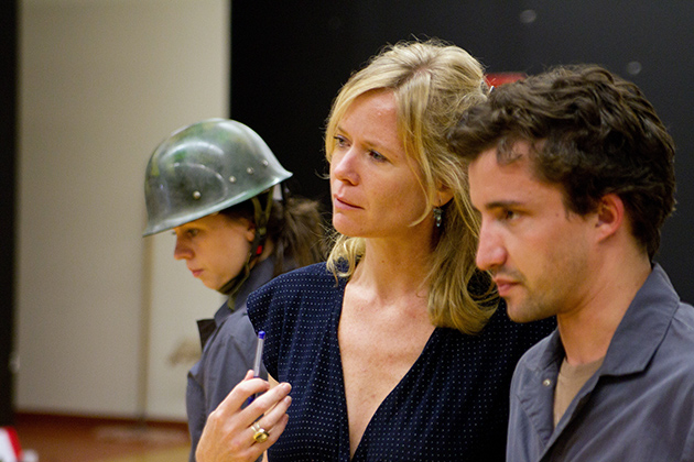 Helene Kvale, center, with fine arts students Kate Shine and Nathan Caron during a rehearsal for a 2010 performance of