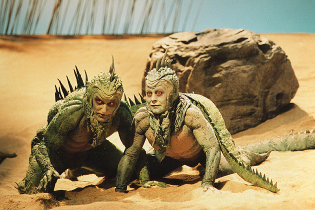 "Actors wearing the lizard costumes from ""Seascape,"" part of the 'Stagecraft' Exhibition at The William Benton Museum of Art. (T.Charles Erickson Photo)"