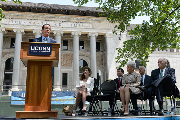 Gov. Dannel P. Malloy speaks at an event Tuesday to authorize the University to move its West Hartford operations to downtown Hartford. (Peter Morenus/UConn Photo)
