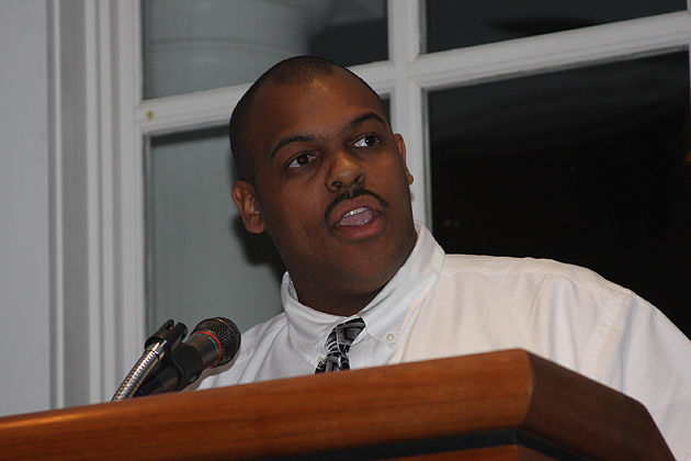 Mark Jenkins Jr. '13 (CLAS), '14 MA speaking at a Neag School of Education program about the importance of having diverse teachers in the classroom to inspire students. (Photo courtesy of Neag School of Education)
