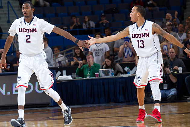 Deandre Daniels, left, and Shabazz Napier are the first UConn players drafted to the NBA since Kevin Ollie became head coach in 2012-13, 39th and 40th since 1964. (Stephen Slade '89 (SFA) for UConn)