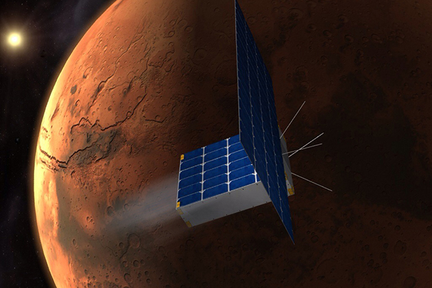 A rendering of the spacecraft that will take the time capsule to Mars. (Courtesy of MIT Space Propulsion Lab)