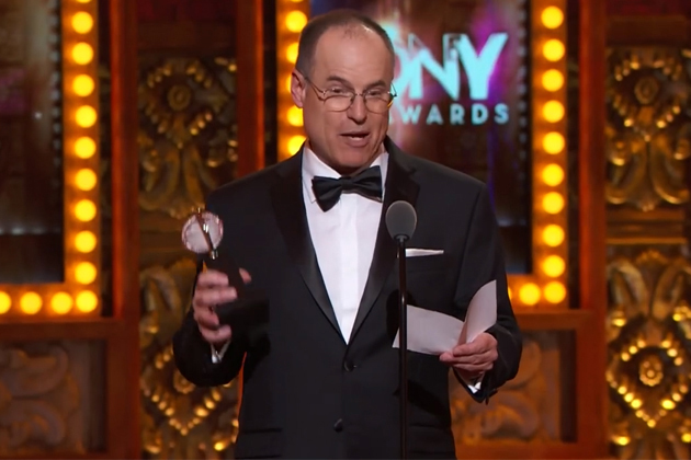 Chris Barreca '79 (SFA) gives his acceptance speech during the 2014 Tony Awards ceremony in June. Barreca won a Tony for his set design for the Broadway musical 'Rocky.'