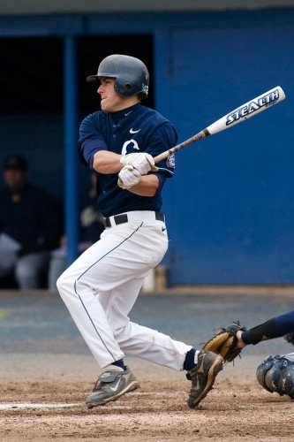 In the National League, Mike Olt '10, is settling in with the Chicago Cubs. (File photo, Stephen Slade for UConn)