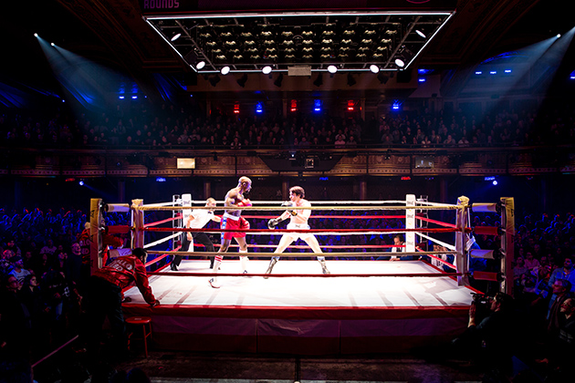 Terrence Archie, left, and Andy Karl in the boxing ring for the Broadway show 'Rocky.' (Photo by Matthew Murphy)