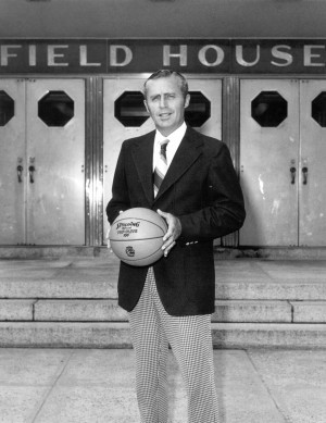 Dee Rowe, head coach of men's basketball 1969-70 through 1976-77, outside the Hugh Greer Field House. (UConn Athletic Communications file photo)