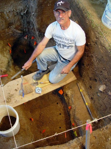 State Archaeologist Nick Bellantoni at the site of an archaeological dig. (Photo supplied by the State Museum of Natural History at UConn)