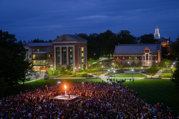 A view of the Convocation ceremony held on the Student Union Mall on Aug. 22, 2014. (Peter Morenus/UConn Photo)