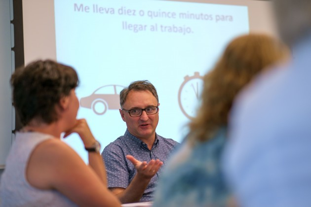 Eduardo Urios-Aparisi, associate professor of literature, culture, and languages, leads an Early College Experience summer training institute for high school Spanish teachers at Oak Hall. (Peter Morenus/UConn Photo)