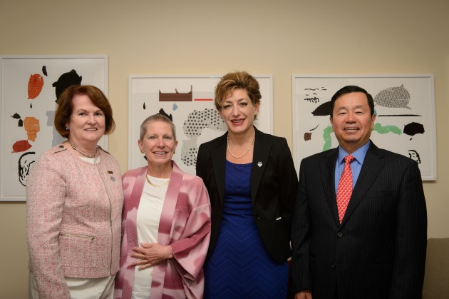 Regina Cusson, dean of nursing, left, Robin Froman, President Susan Herbst, and Provost Mun Choi at the President's office on Aug. 22, 2014. (Peter Morenus/UConn Photo)