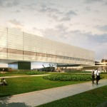 An artist's rendering of the future Innovation Partnership Building to be located at the UConn Technology Park.