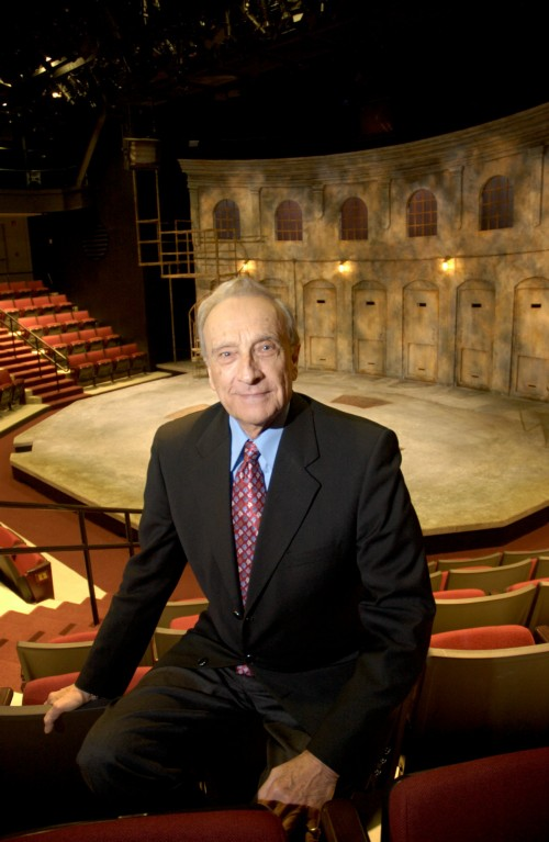 Nafe Katter, professor emeritus of dramatic arts, in 2004, in the theater that bears his name. (Peter Morenus/UConn File Photo)