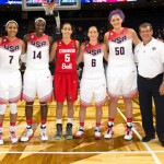 The Huskies who played in the USA-Canada exhibition gameat the Webster Bank Arena in Bridgeport gathered for a photo. From left: Breanna Stewart '16 (CLAS), Maya Moore '11 (CLAS), Tina Charles '10 (CLAS), Kia Nurse '18 (CLAS), Sue Bird '02 (CLAS), Stafanie Dolson '14 (CLAS), Huskies head coach Geno Auriemma and University of Hartford head coach Jennifer Rizzotti '96 (CLAS). (Steve Slade '89 (SFA) for UConn)