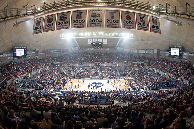 Gampel Pavilion on First Night, Oct. 17. (Stephen Slade '89 (SFA) for UConn)