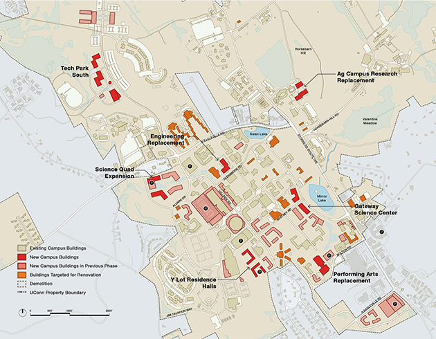 A map of the Storrs campus showing the long-term strategy, 2025-2035, subject to funding. (UConn Campus Master Plan, October 2014)