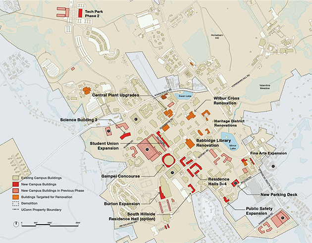 A map of the Storrs campus showing the mid-term strategy, 2020-2025. (UConn Campus Master Plan, October 2014)