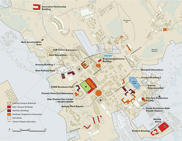 A map of the Storrs campus showing the near-term strategy, 2015-2020. (UConn Campus Master Plan, October 2014)