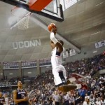 Rodney Purvis dunks the ball during the inter-squad scrimmage at First Night. (UConn Photo)