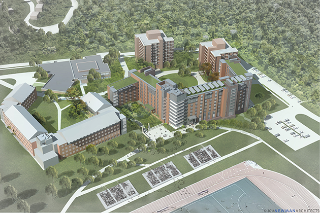 A rendering of the planned new STEM residence hall. (Newman Architects)