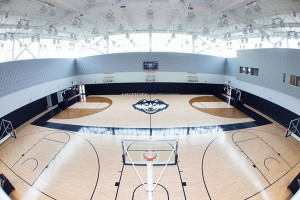 The new $35 million, 78,000-square-foot Werth Family UConn Basketball Champions Center includes common areas designed for academic support, sports medicine, and strength training, along with separate practice gyms, locker rooms, coaches' offices, meeting rooms, and video analysis facilities. (Stephen Slade '89 (SFA)/UConn Photo)