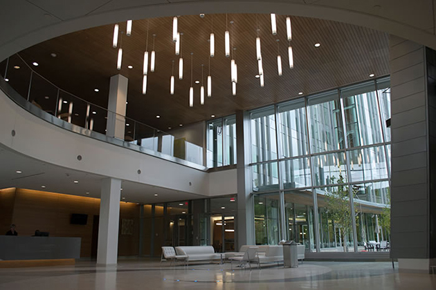 The atrium of the Jackson Laboratory for Genomic Medicine at the UConn Health campus in Farmington. (Tina Encarnacion/UConn Health Photo)
