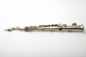 A soprano saxophone made in 1866 by Adolphe Sax, with a mouthpiece created by UConn researchers  using 3-D printing technology. (Peter Morenus/UConn Photo)