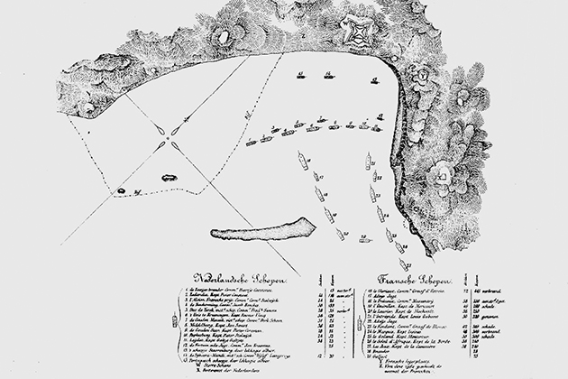 Map of the Battle of Scarborough Harbour, 1677.