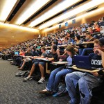 A view of room 102 in the Classroom Building during a lecture by Thomas Abbott assistant professor in residence of molecular and cell biology, on September 23, 2011. (Peter Morenus/UConn Photo)