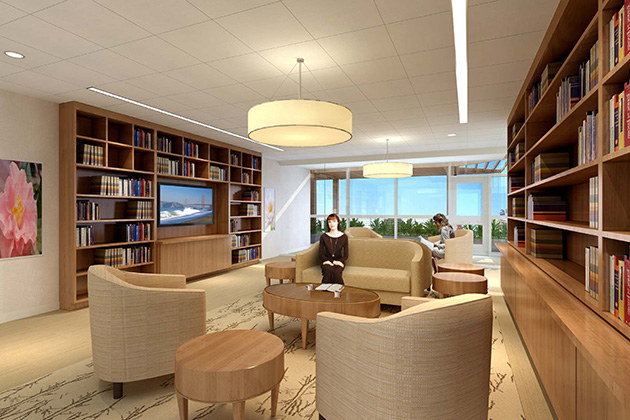 The Patient Education Library in the Carole and Ray Neag Comprehensive Cancer Center. (Rendering by Perkins Eastman)