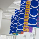 Photo of banners at the Stamford Campus.