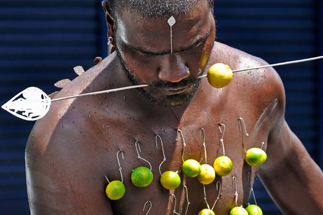 Celebrants undergo ritual body piercings on the island of Mauritius during the religious festival Thaipusam. (Dimitris Xygalatas/UConn Photo)