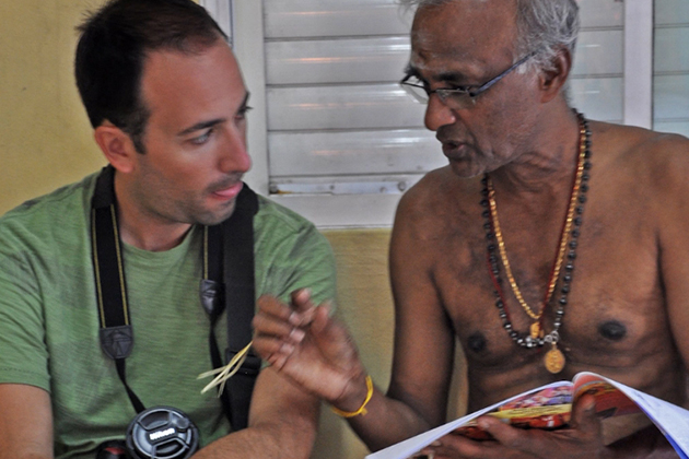 Dimitris Xygalatas, left, conducts an interview in Mauritius. (Photo courtesy of Dimitris Xygalatas)
