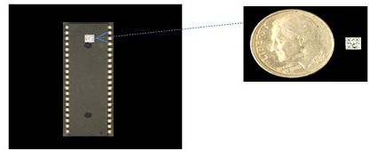 A 3.15 mm QR code storing an encrypted and compressed image shown placed on an integrated circuit and an image of the QR code placed next to a dime. (Courtesy of Adam Markman/Brhram Javidi)
