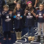 The Junior Husky Club Starting 5 during halftime at the Women's Basketball game vs. Memphis in Gampel Pavilion on Feb. 28. (Athletic Communications/UConn Photo)