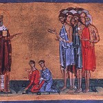 Detail from the front page to Gregory Nazianzen's fourth-century sermon On Love of the Poor, depicting Gregory trying to persuade aristocratic Christians to give to lepers. It comes from the 11th cent. MS Jerusalem Taphou 14, fol. 264v, published in P.L. Vocotopoulos, Byzantine Illuminated Manuscripts of the Patriarchate of Jerusalem (Athens and Jerusalem: Greek Orthodox Patriarchate of Jerusalem, 2002), 167.
