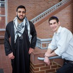 Shaheer Hassan, left, and Daniel Saxon at the Homer Babbidge Library. (Peter Morenus/UConn Photo)