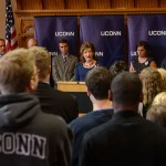 President Susan Herbst speaks at an event at the Old Judiciary Room at the State Capitol on April 14, 2015. (Peter Morenus/UConn Photo)