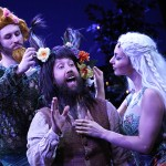 From left, Kent Coleman '17 (SFA) (Peaseblossom), Michael Patrick Kane (Nick Bottom), and MFA candidate Natalia Cuevas (Titania) in Connecticut Repertory Theatre's production of Shakespeare's 'A Midsummer Night's Dream.' (Gerry Goodstein for UConn)