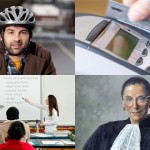 A composite of four images representing the mindset of the Class of 2015, clockwise from top left, a young man wearing a bike helmet; a person swiping a bank card; a portrait of Supreme Court Justice Ruth Bader-Ginsburg; and a teacher using a smartboard in a classroom. (iStock Photos)