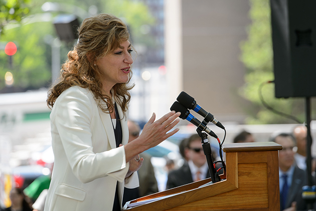 President Susan Herbst speaks during the groundbreaking ceremony for the new downtown Hartford Campus on May 18, 2015. (Peter Morenus/UConn Photo)
