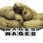 An image of peanuts next to blocks spelling out 'wages.' (iStock Photo)