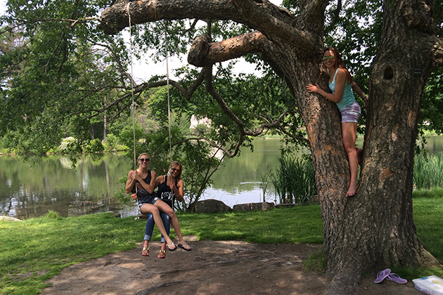 Here I am enjoying an afternoon at Mirror Lake with my track and field teammates, Kat Vodopia (on the swing with me) and Laura Williamson (in the tree).