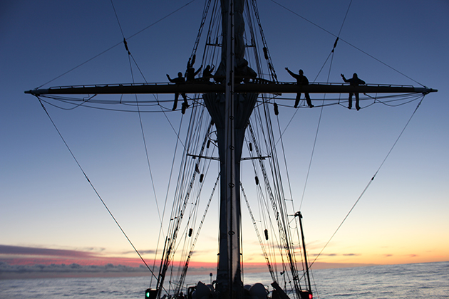 SEA Semester students on the SSV Robert C. Seamans had an opportunity to climb the rigging of the ship for an unobstructed view. (Photo courtesy of Tim Bateman '16 (CLAS))